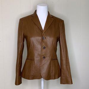 Ralph Lauren Brown Tan Lambs Leather Coat Jacket